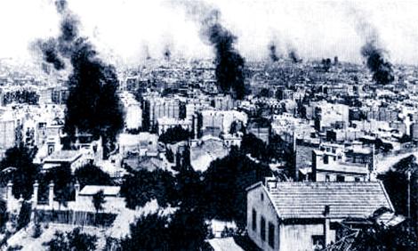 Barcelona en llamas, durante la Semana Trágica de julio de 1909. | Á. Vivas