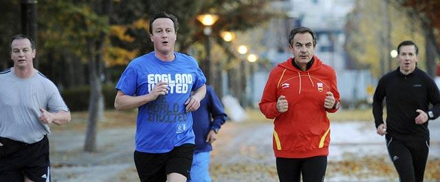 Zapatero y Cameron haciendo Footing. | Reuters