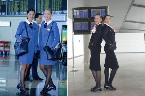 Azafatas de Air Nostrum con el antigo uniforme (i) y el nuevo (d). | A.N.