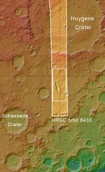 El entorno del cráter alargado. | ESA/MGS/MOLA Science Team