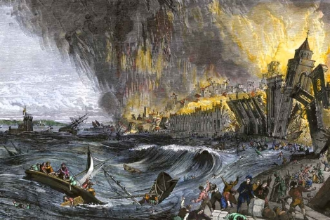 Recreaci�n art�stica del tsunami de Lisboa de 1755. | Getty Images