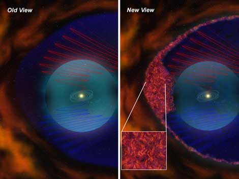 Recreación del área estudiada por las 'Voyager' antes y después del hallazgo. | NASA la nueva y la antigua visión | NASA