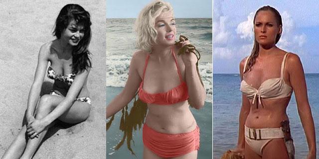 Brigitte Bardot, Marilyn Monroe y Ursula Andress, en bikini.