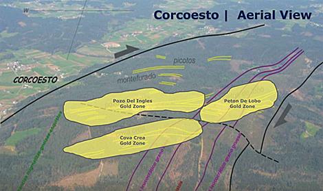 Vista aérea de la zona donde están localizadas las vetas de oro.
