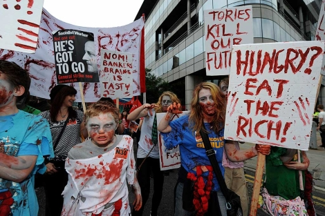 Manifestantes, este domingo en Manchester. | Efe