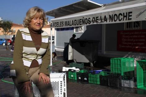 La presidenta de Los Ángeles Malagueños de la Noche, Felisa Castro. | C. Díaz