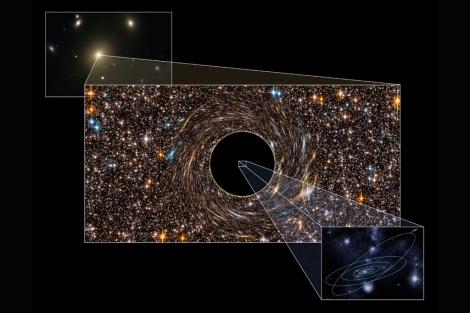 Imagen que muestra el enorme tamaño de uno de los agujeros negros. | Nature