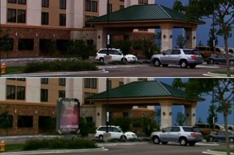 El episodio original, en la parte superior, y la emisión con publicidad, en la inferior.