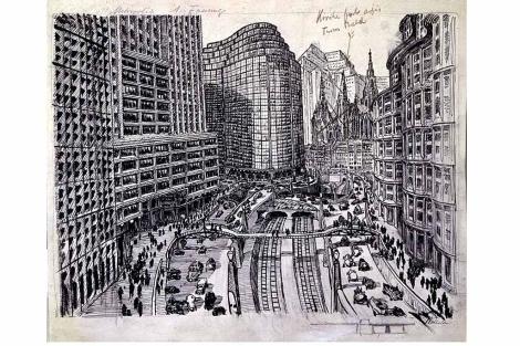 Uno de los dibujos de Fritz Lang para el guión de Metrópolis (1927). | EL MUNDO