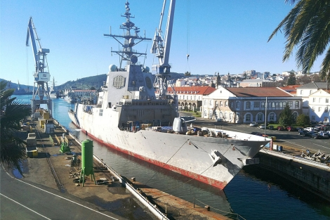 La fragata F-105 Cristóbal Colón, atracada en Navantia Ferrol, | Navantia