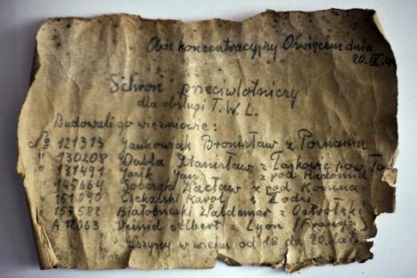 Mensaje manuscrito por varios presos de Auschwitz hallado en 2009.