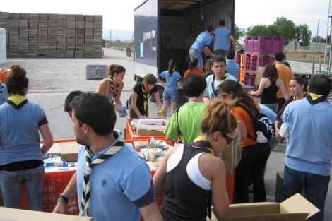 Los scouts mayores de 18 prestaron su ayuda en Lorca. | ASDE