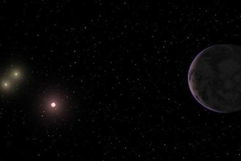 El planeta nuevo junto a las tres estrellas de su sistema. | Carnegie Institution