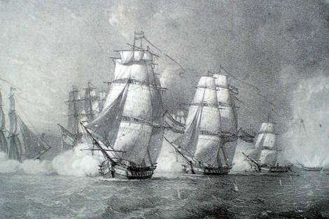 Grabado de la batalla que se conserva en el Museo Naval de Madrid.