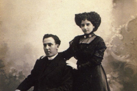 Antonio Machado y Leonor el da de su boda
