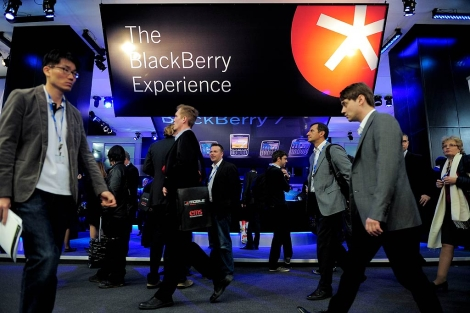 Stand de Blackberry en la WMC. | Afp