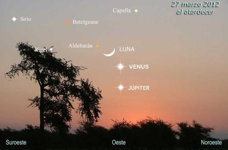 Conjunción de planetas el próximo 27 de marzo. | Pedro Arranz y César González
