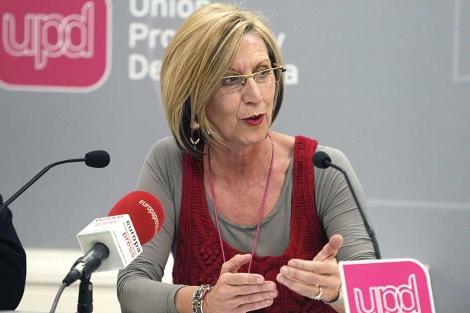 Rosa Díez, en la rueda de prensa en la que ha analizado los resultados de las elecciones. | Efe