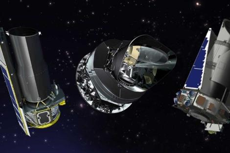 Recreaciones de los telescopios 'Spitzer', 'Panck' y 'Kepler'. | NASA
