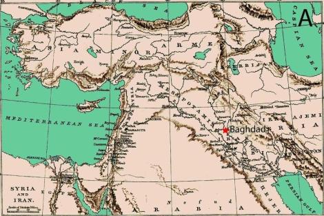Mapa histórico de Medio Oriente que señala la ciudad de Bagdad (Iraq).   Domínguez-Castro