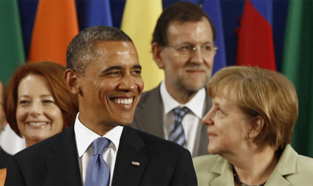 Rajoy, detrs de Obama y Merkel en la cumbre del G-20. | Reuters