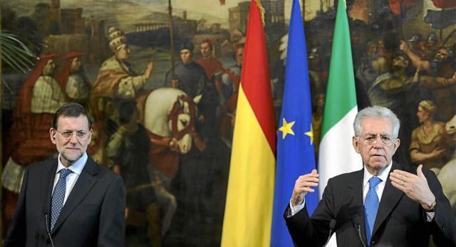 El presidente del Gobierno, Mariano Rajoy, y el primer ministro italiano, Mario Monti. | Efe