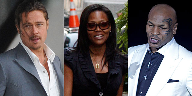 Brad Pitt, Robin Givens y Mike Tysson. | Gtres/AFP