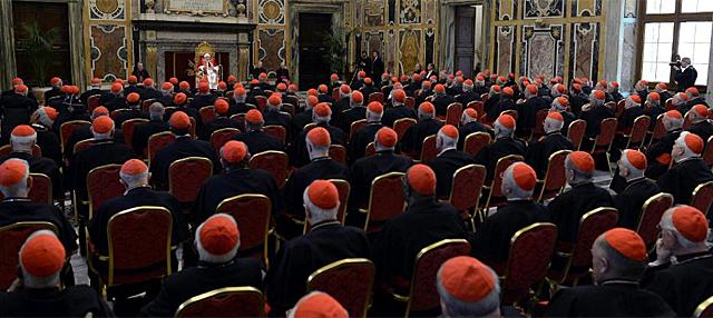 Último encuentro de Benedicto XVI con los cardenales como Papa . | Foto: Efe