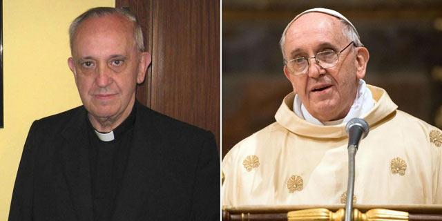 Jorge Mario Bergoglio hace años en Buenos Aires (i) y el jueves como Papa Francisco.
