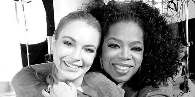 Lindsay Lohan y Oprah Winfrey durante la entrevista. | Instagram/@lindsaylohan