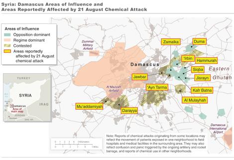 Mapa con las zonas afectadas por el ataque químico.