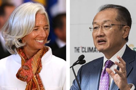 Christine Lagarde (i) y Jim Yong Kim (d), presidentes del FMI y Banco Mundial.