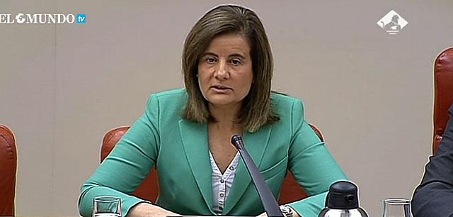 La ministra Fátima Báñez en su comparecencia en el Congreso. | EM