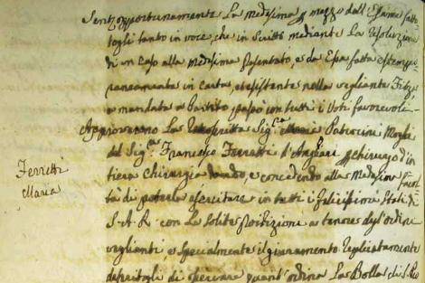 Detalle de la inscripción de Ferretti en el Colegio Médico Florentino. | U. de Florencia
