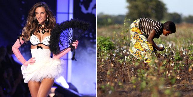 Foto: El 'glamour' de sus desfiles contrasta con la realidad de Clarisse, de 13 años, que recoge el algodón que luego se convertirá en delicadas piezas de lencería. (Fotos: Gtresonline/Bloomberg)