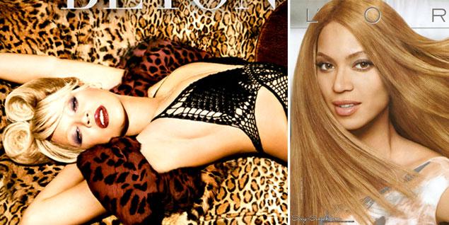 A la izqda., la imagen del cuarto disco de Beyoncé y la dcha., la campaña de 2008 para L 'Oréal. (Fotos: Gtresonline/Agencias)